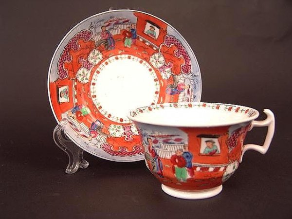 3023: ENGLISH HAND PAINTED CUP & SAUCER ORIENTAL