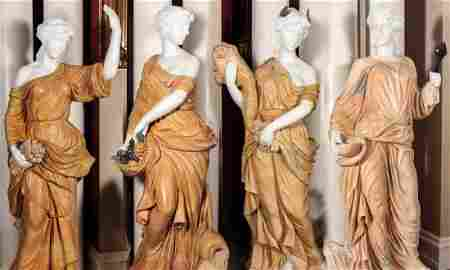 LIFE-SIZED MARBLE AND ONYX 'FOUR SEASONS' STATUES