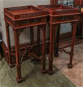 CONTEMPORARY MAHOGANY CHINESE CHIPPENDALE TABLES