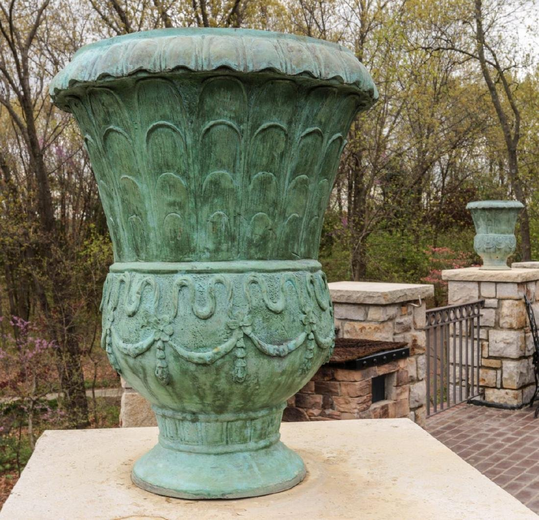A PAIR 24-IN BRONZE GARDEN URNS WITH GREEN PATINA