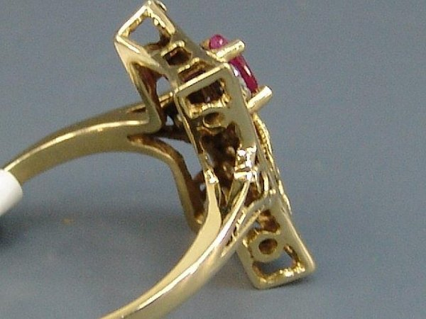 9: LADIES' 14K YEL GOLD ANTIQUE STYLE RUBY & DIAMOND RI - 2