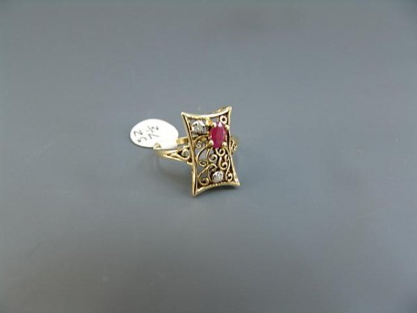 9: LADIES' 14K YEL GOLD ANTIQUE STYLE RUBY & DIAMOND RI - 3