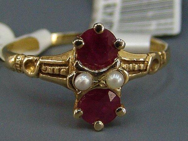 12: TWO LADIES' YEL GOLD SEED PEARL RINGS W/ RUBY & GAR