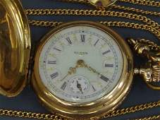 165: LADIES SOLID 14K GOLD ANTIQUE WATCH IN HUNTING CAS