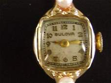 284 ESTATE JEWELRY 14K YEL GOLD BULOVA WATCH W FANCY