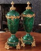 FINE 20TH C MALACHITE AND ORMOLU VASE PAIR