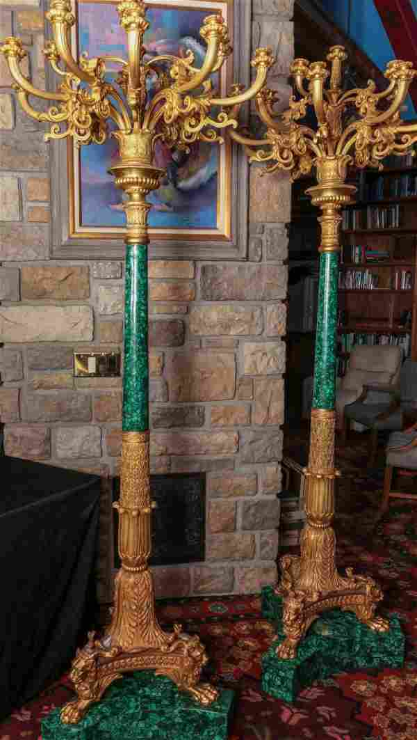 OUTSTANDING 93-INCH ORMOLU AND MALACHITE TORCHIERE