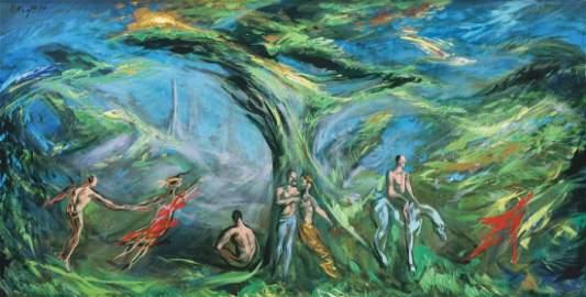 ARTHUR KRAFT (1922-1977) SURREALIST OIL ON CANVAS