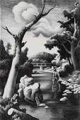 THOMAS HART BENTON 18891975 PENCIL SIGNED LITHO
