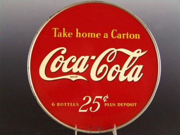 501: 1940'S COCA-COLA DISPLAY RACK TOP SIGN