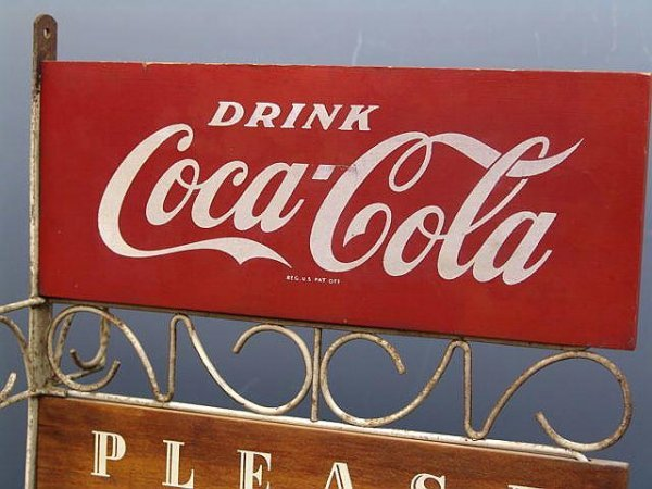 """504: COCA-COLA """"PLEASE PAY WHEN SERVED"""" WOOD SIGN"""