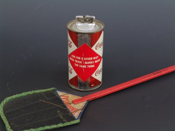 523: OLDER COCA-COLA COLLECTIBLES: FLY SWATTER & CAN LI