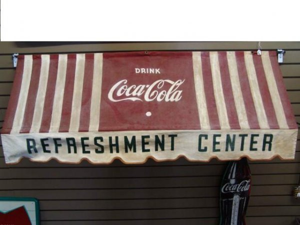 548: 1948 COCA-COLA STORE DISPLAY CANVAS AWNING