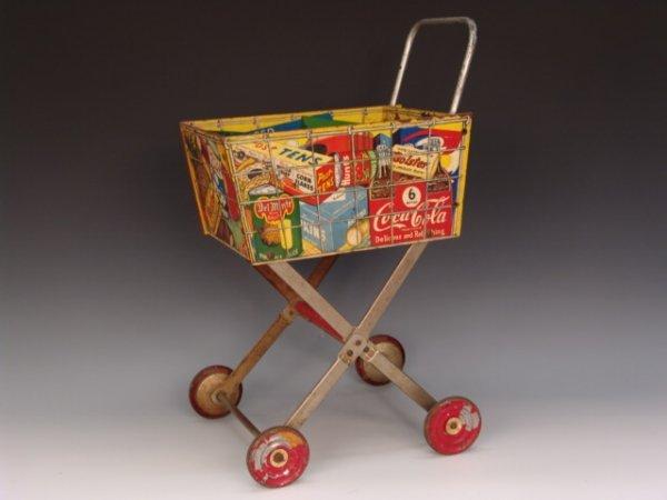 594: 1950'S COCA-COLA TOY SHOPPING CART