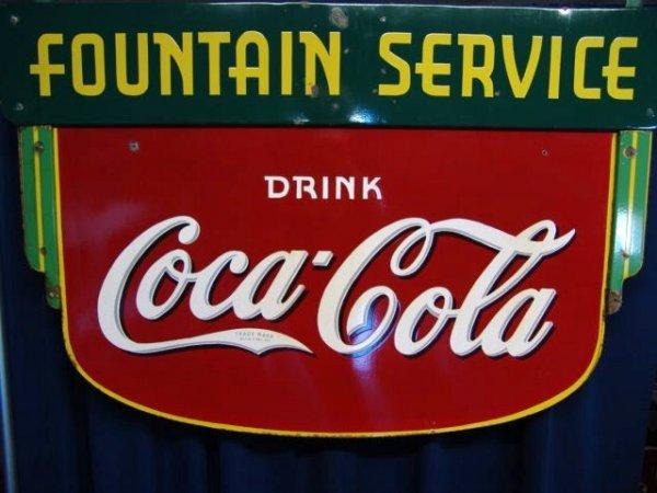 615: 1930'S COCA-COLA FOUNTAIN SERVICE PORCELAIN SIGN
