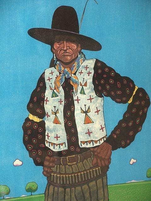 1159: Color block print, Am Indian artist T. C. Cannon