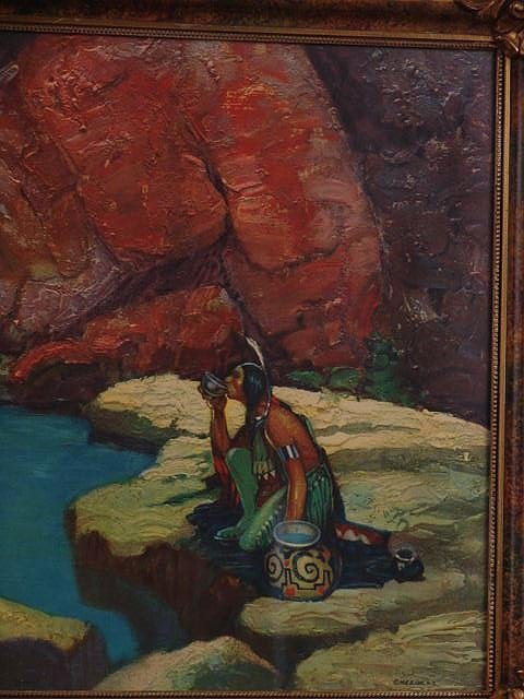 1344: Circa 1930s framed print of an American Indian - 9