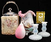 A COLLECTION OF VARIOUS VICTORIAN ART GLASS ITEMS