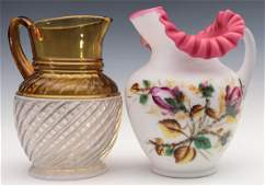 TWO GOOD VICTORIAN ART GLASS WATER PITCHERS