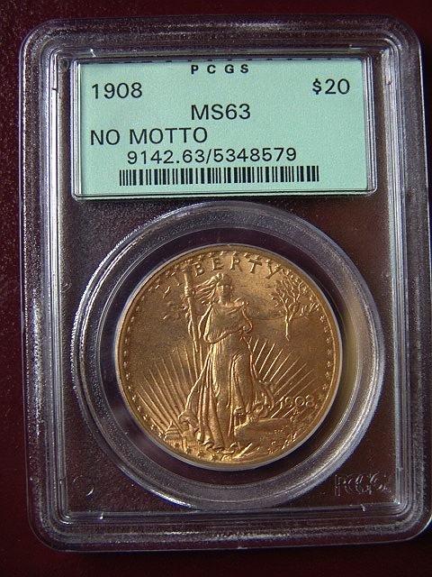 2000: 1908 ST. GAUDENS $20 GOLD COIN PCGS MS 63 NO MOTT
