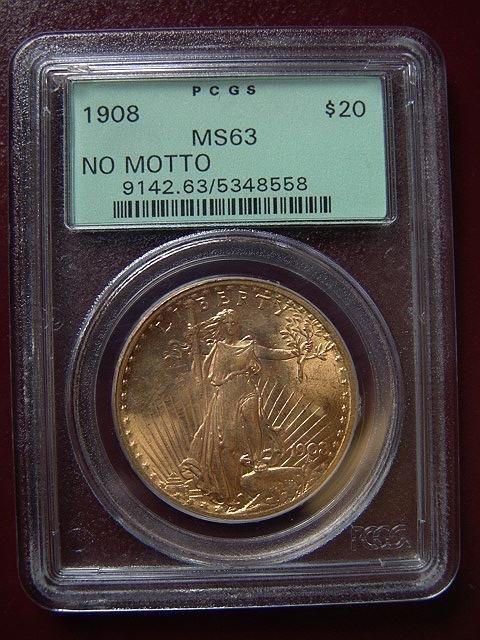 2001: 1908 ST. GAUDENS $20 GOLD COIN PCGS MS 63 NO MOTT