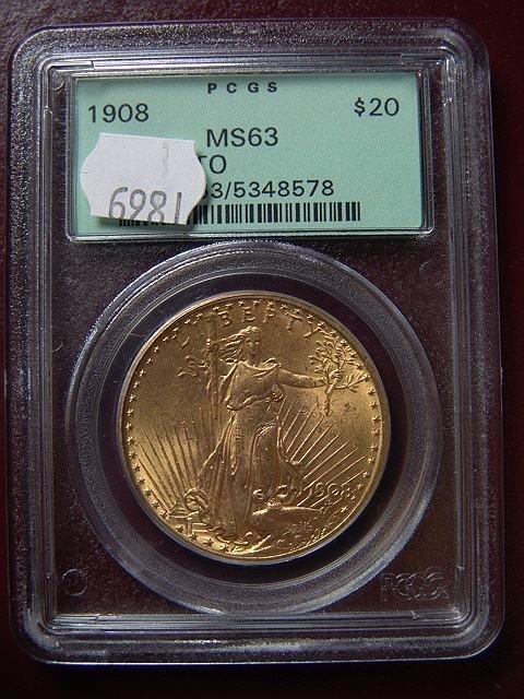 2002: 1908 ST. GAUDENS $20 GOLD COIN PCGS MS 63 NO MOTT