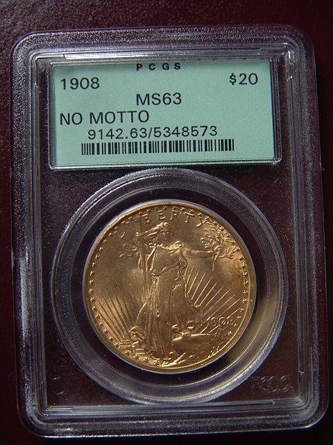 2003: 1908 ST. GAUDENS $20 GOLD COIN PCGS MS 63 NO MOTT