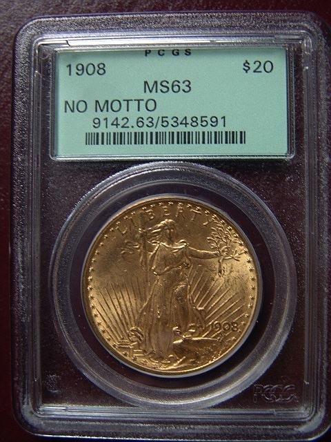 2004: 1908 ST. GAUDENS $20 GOLD COIN PCGS MS 63 NO MOTT