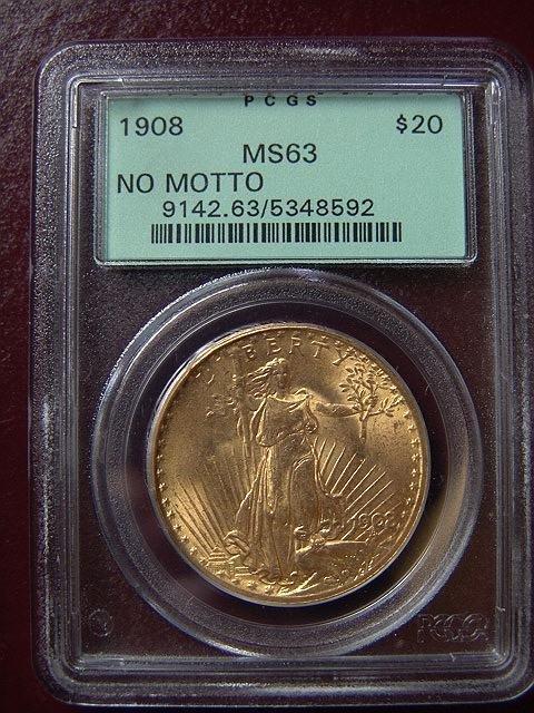 2005: 1908 ST. GAUDENS $20 GOLD COIN PCGS MS 63 NO MOTT