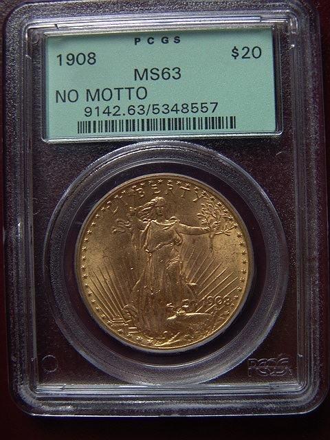 2006: 1908 ST. GAUDENS $20 GOLD COIN PCGS MS 63 NO MOTT