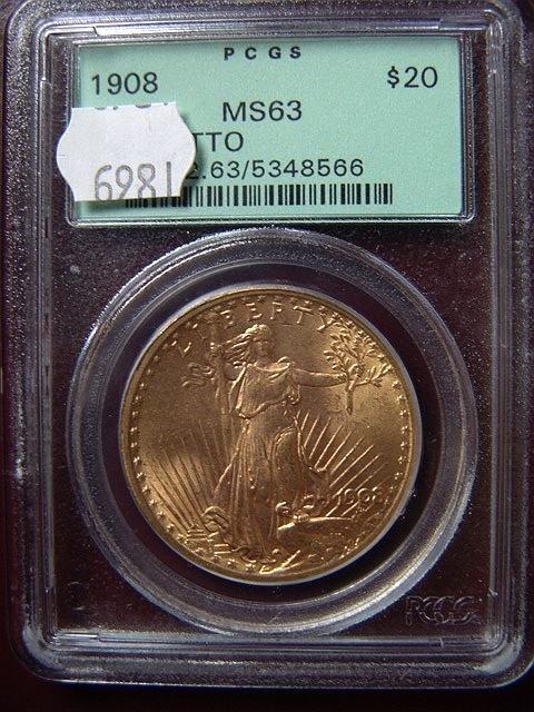 2007: 1908 ST. GAUDENS $20 GOLD COIN PCGS MS 63 NO MOTT