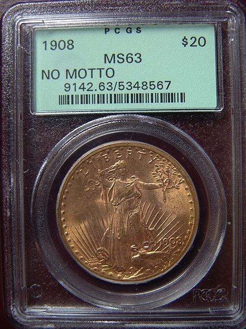 2008: 1908 ST. GAUDENS $20 GOLD COIN PCGS MS 63 NO MOTT