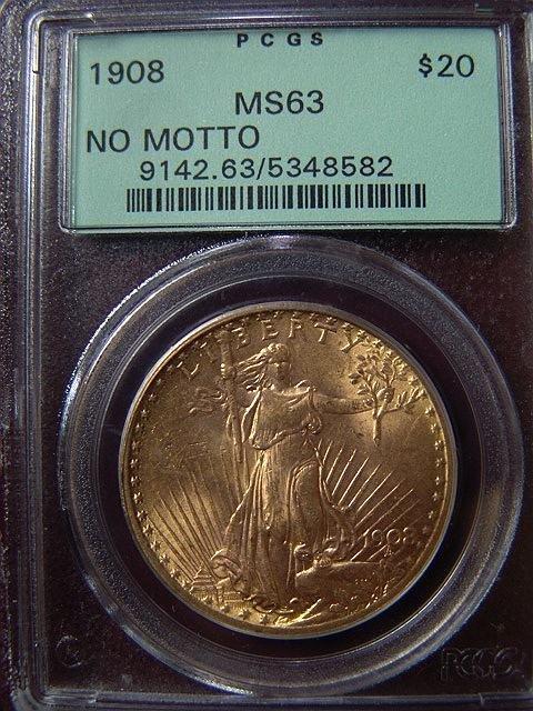 2009: 1908 ST. GAUDENS $20 GOLD COIN PCGS MS 63 NO MOTT