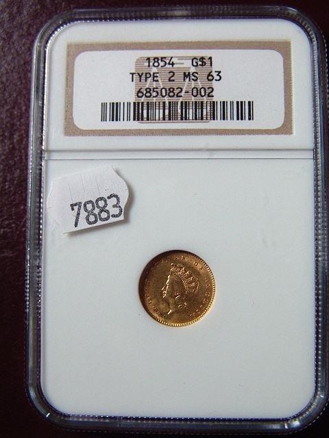 2010: 1854 $1  US GOLD COIN MS 63 NGCA