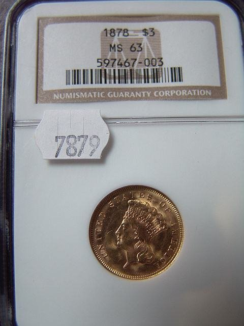 2011: 1878 $3 US GOLD COIN MS 63 NGC