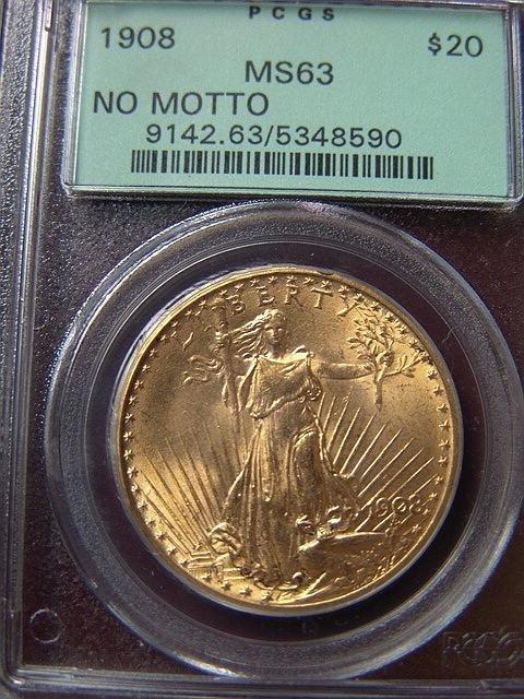2012: 1908 ST. GAUDENS $20 GOLD COIN PCGS MS 63 NO MOTT