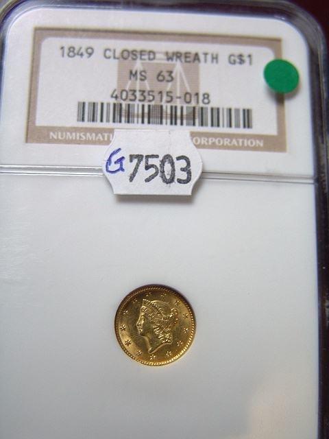 2014: RARE 1849 CLOSED WREATH 1$ US GOLD MS 63