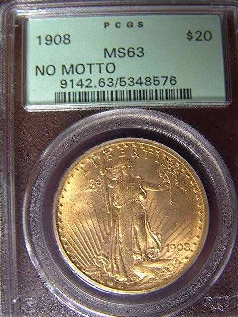 2015: 1908 ST. GAUDENS $20 GOLD COIN PCGS MS 63 NO MOTT