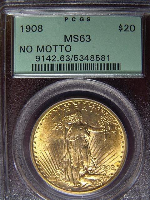 2016: 1908 ST. GAUDENS $20 GOLD COIN PCGS MS 63 NO MOTT