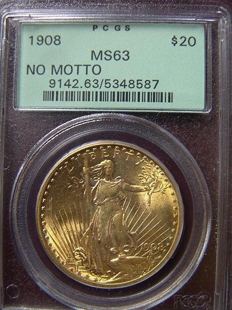 2017: 1908 ST. GAUDENS $20 GOLD COIN PCGS MS 63 NO MOTT
