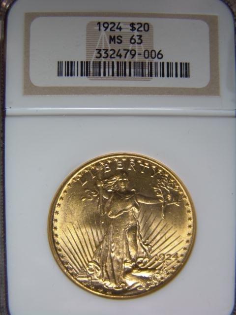 2019: 1924 ST. GAUDENS $20 GOLD COIN NGCA MS 63 NO MOTT