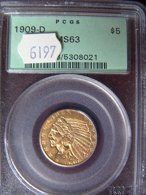 2020: 1909 -D $5 US GOLD COIN PCGS MS 63