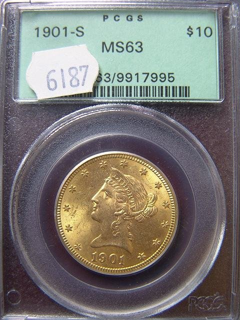 2021: 1901-S $10 LIBERTY GOLD COIN PCGS MS 63