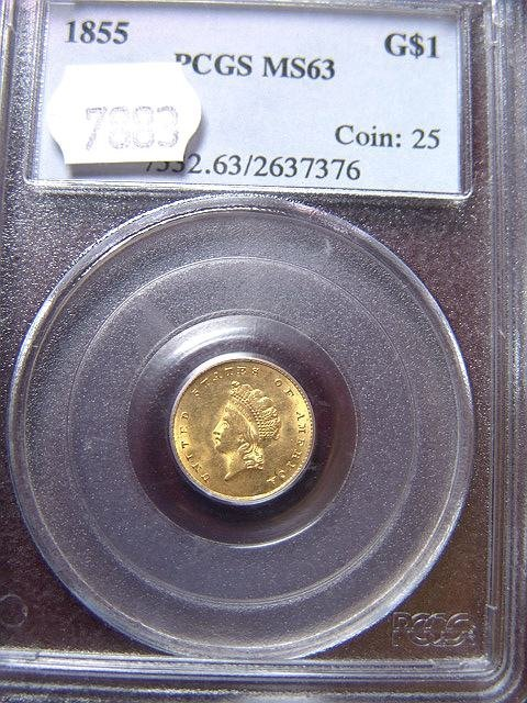 2022: 1855 $1 GOLD COIN PCGS MS 63