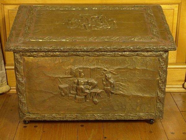 2501: DETAILED ORNATE EMBOSSED BRASS FIREWOOD BOX