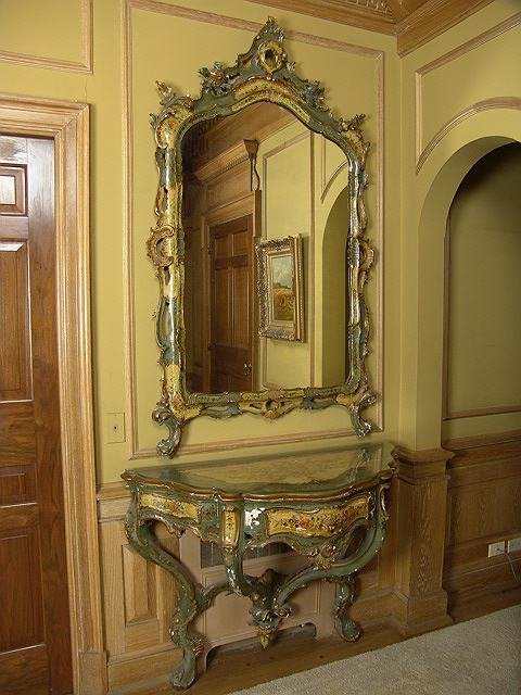 2675: ITALIAN PAINTED MIRROR AND CONSOLE