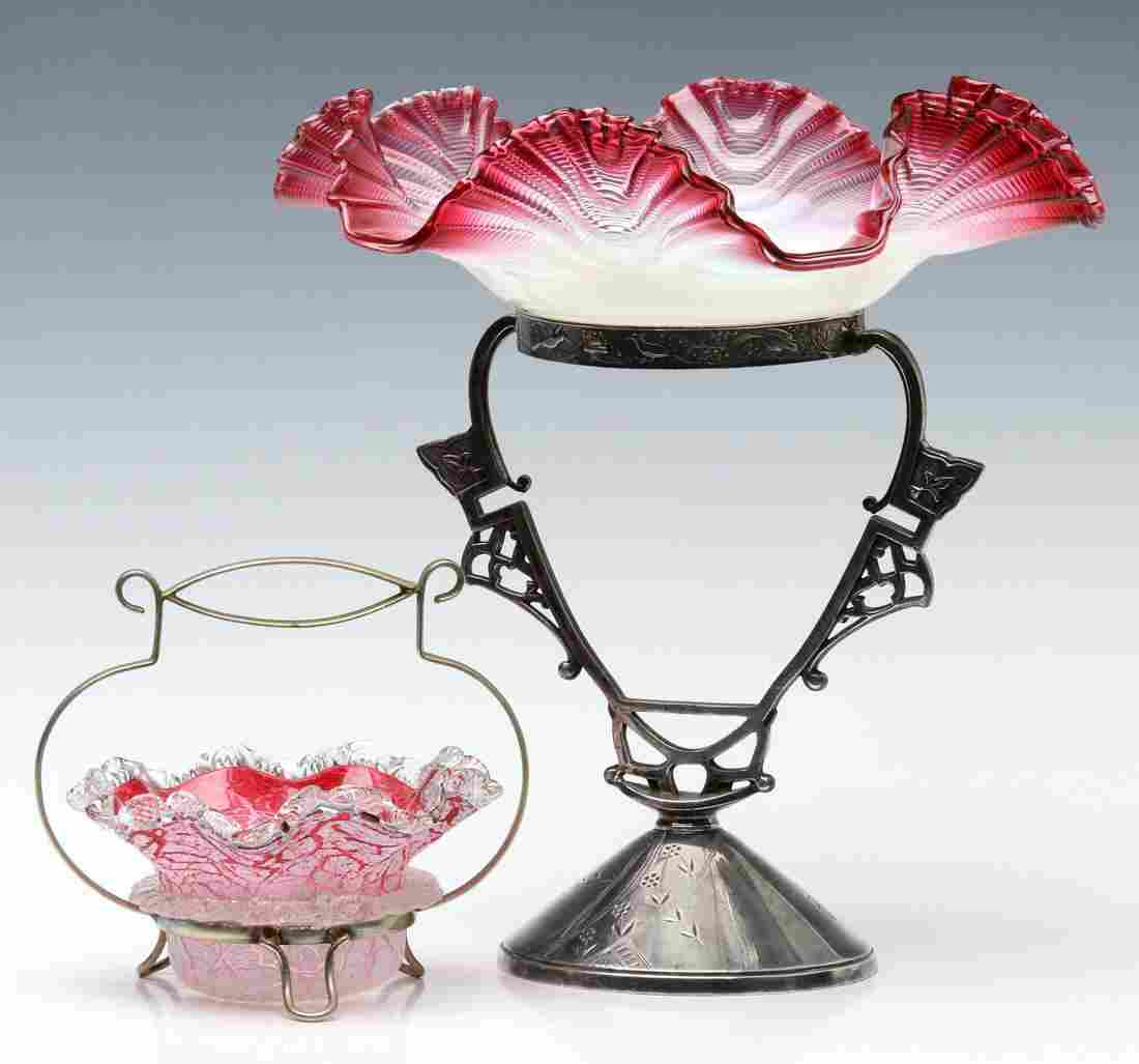 VICTORIAN ART GLASS BRIDE'S BASKET AND SWEETMEAT
