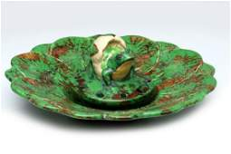 WELLER 'COPPERTONE' ART POTTERY CONSOLE BOWL WITH FROG