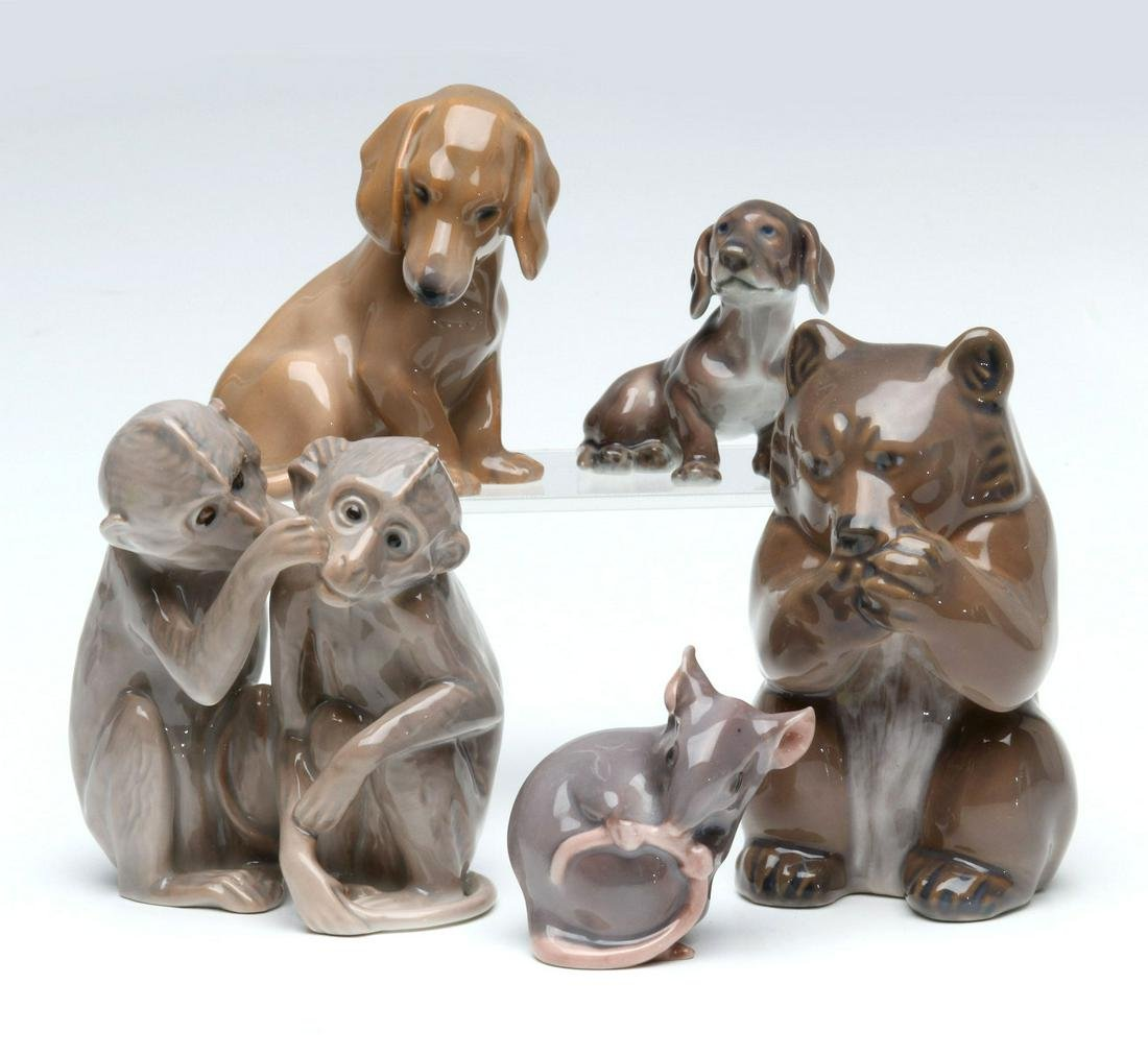 A COLLECTION OF DANISH PORCELAIN ANIMAL FIGURES