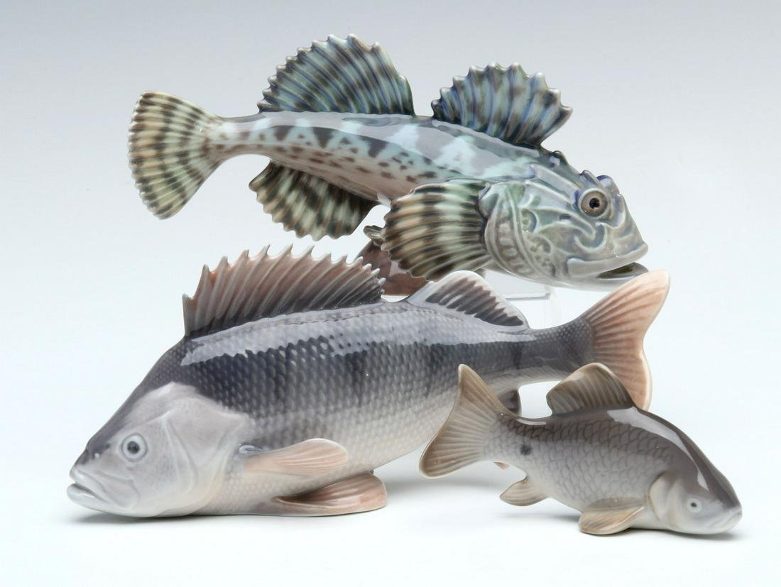 DAHL-JENSEN AND ROYAL COPENHAGEN PORCELAIN FISH FIGURES